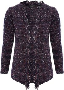 Moda Fringe Cardigan Navy - pattern: plain; neckline: collarless open; style: open front; predominant colour: navy; occasions: casual, work; length: standard; fibres: cotton - mix; fit: standard fit; sleeve length: long sleeve; sleeve style: standard; pattern type: fabric; pattern size: standard; texture group: tweed - bulky/heavy; embellishment: fringing