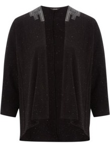 Pu Trim Cardigan Black - pattern: plain; neckline: waterfall neck; shoulder detail: contrast pattern/fabric at shoulder; style: open front; predominant colour: black; occasions: casual; length: standard; fibres: cotton - stretch; fit: loose; back detail: longer hem at back than at front; sleeve length: 3/4 length; sleeve style: standard; texture group: knits/crochet; pattern type: knitted - fine stitch; pattern size: small & light