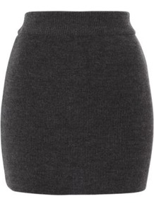 Knitted Mini Skirt Charcoal - length: mini; pattern: plain; fit: tight; hip detail: fitted at hip; waist: mid/regular rise; predominant colour: charcoal; occasions: casual; style: mini skirt; fibres: acrylic - 100%; texture group: knits/crochet; pattern type: knitted - other
