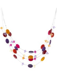 Tiered Beaded Necklae Multi - occasions: casual, evening, work, occasion; predominant colour: multicoloured; style: multistrand; length: mid; size: standard; material: chain/metal; finish: plain; embellishment: beading