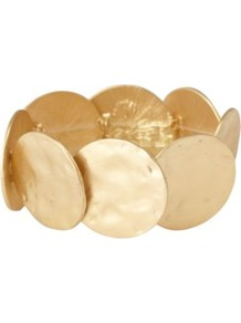 Disc Bangle Gold - predominant colour: gold; occasions: casual, evening, work, occasion, holiday; style: bangle; size: large/oversized; material: chain/metal; finish: metallic