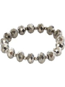 Metallic Bead Bracelet Silver - predominant colour: silver; occasions: casual, evening, work; style: bangle; size: standard; material: chain/metal; trends: metallics; finish: metallic; embellishment: beading