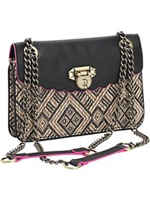 Vicarage Crossbody Bag - predominant colour: black; occasions: casual, evening, holiday; type of pattern: standard; style: messenger; length: across body/long; size: small; material: fabric; trends: modern geometrics; finish: plain; pattern: patterned/print; embellishment: chain/metal