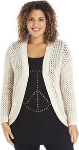 True Glitter Thread Edge To Edge Cardigan - pattern: plain; length: below the bottom; neckline: collarless open; style: open front; predominant colour: stone; occasions: casual, work; fibres: cotton - mix; fit: loose; sleeve length: long sleeve; sleeve style: standard; texture group: knits/crochet; pattern type: knitted - big stitch; pattern size: standard
