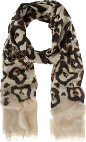 Tafara Print Scarf - predominant colour: black; occasions: casual, work; type of pattern: heavy; style: regular; size: standard; material: fabric; trends: statement prints; pattern: patterned/print