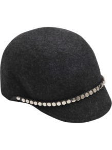 Jockey Hat With Hexagones. - predominant colour: charcoal; occasions: casual, work; type of pattern: light; style: cap; size: standard; material: felt; pattern: plain; trends: metallics; embellishment: studs