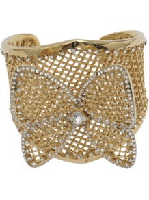 Korea Bracelet - predominant colour: gold; occasions: evening, work, occasion, holiday; style: cuff; size: large/oversized; material: chain/metal; embellishment: crystals