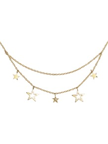 Club Des 5 Necklace - predominant colour: gold; occasions: casual, evening, work, occasion, holiday; style: multistrand; length: short; size: small; material: chain/metal; trends: metallics; finish: metallic; embellishment: chain/metal
