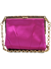 Square Satin Clutch - predominant colour: hot pink; occasions: evening, occasion; type of pattern: standard; style: clutch; length: shoulder (tucks under arm); size: small; material: satin; pattern: plain; trends: fluorescent; finish: plain