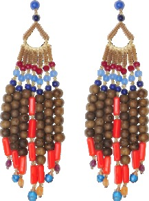 Tecno Earrings - occasions: evening, occasion, holiday; predominant colour: multicoloured; style: chandelier; length: long; size: large/oversized; material: chain/metal; fastening: pierced; finish: plain; embellishment: beading