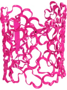 Glauce Neon Pink Cuff - predominant colour: hot pink; occasions: casual, evening, work, occasion, holiday; style: cuff; size: large/oversized; material: chain/metal; trends: fluorescent; finish: fluorescent
