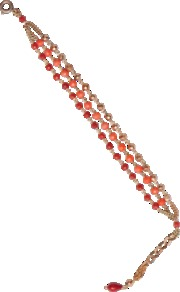Zazi Bracelet - predominant colour: coral; occasions: casual, evening, work, holiday; style: chain; size: standard; material: chain/metal; trends: metallics; finish: plain; embellishment: beading