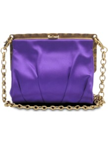 Square Satin Clutch - predominant colour: indigo; occasions: evening, occasion; type of pattern: standard; style: clutch; length: shoulder (tucks under arm); size: small; material: satin; pattern: plain; finish: plain; embellishment: chain/metal