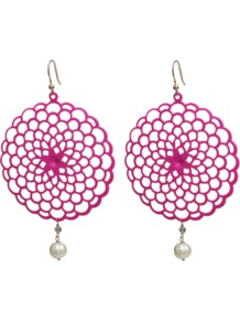 Sole Earrings - predominant colour: hot pink; occasions: evening, occasion, holiday; style: drop; length: long; size: large/oversized; material: chain/metal; fastening: pierced; trends: fluorescent; finish: fluorescent; embellishment: pearls