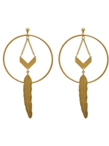 Romane Creole Earrings - predominant colour: gold; occasions: evening, occasion, holiday; style: hoop; length: long; size: large/oversized; material: chain/metal; fastening: pierced; trends: metallics; finish: metallic; embellishment: chain/metal