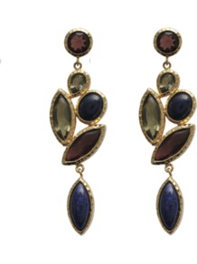 Nymph Earrings - occasions: evening, work, occasion, holiday; predominant colour: multicoloured; style: drop; length: long; size: large/oversized; material: chain/metal; fastening: pierced; trends: metallics; finish: plain; embellishment: jewels