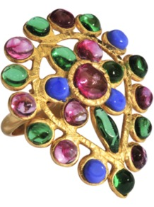 Ja?Pur Ring - occasions: evening, occasion, holiday; predominant colour: multicoloured; style: cocktail; size: large/oversized; material: chain/metal; finish: metallic; embellishment: jewels