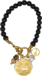 Ana Bracelet - predominant colour: black; occasions: casual, evening, work, occasion, holiday; style: charm; size: standard; material: plastic/rubber; trends: metallics; finish: plain