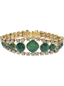 Emerald Crystal Bracelet - predominant colour: emerald green; occasions: casual, evening, work, occasion; style: bangle; size: standard; material: chain/metal; embellishment: jewels