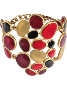 Pieces Of Glass Cuff - occasions: casual, evening, work, occasion, holiday; predominant colour: multicoloured; style: cuff; size: large/oversized; material: chain/metal; trends: metallics; finish: plain; embellishment: crystals