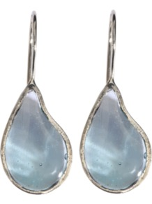 Drop Earrings - predominant colour: pale blue; occasions: evening, work, occasion; style: drop; length: mid; size: standard; material: chain/metal; fastening: pierced; trends: metallics; finish: plain; embellishment: jewels