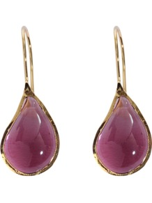 Drop Earrings - predominant colour: purple; occasions: evening, work, occasion; style: drop; length: mid; size: standard; material: chain/metal; fastening: pierced; trends: metallics; finish: plain; embellishment: jewels