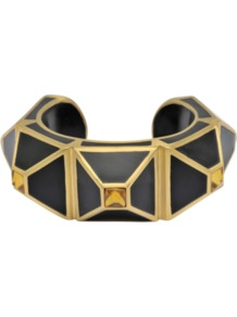 Pyramid Bracelet - predominant colour: black; occasions: casual, evening, work, occasion; style: bangle; size: large/oversized; material: chain/metal; trends: metallics; finish: plain; embellishment: jewels