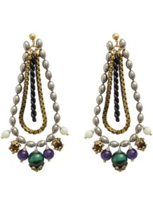 Dauphine Earrings - occasions: casual, evening, occasion; predominant colour: multicoloured; style: chandelier; length: long; size: standard; material: chain/metal; fastening: pierced; embellishment: pearls