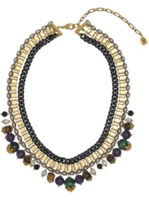 Dauphine Multicolour Bib Necklace - predominant colour: gold; occasions: casual, evening, occasion; style: bib; length: choker; size: standard; material: chain/metal; embellishment: pearls