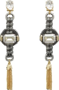 Crystal Earrings - predominant colour: silver; occasions: evening, occasion; style: drop; length: long; size: large/oversized; material: chain/metal; fastening: pierced; trends: metallics; finish: metallic; embellishment: crystals