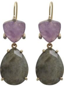 Golden Earrings - predominant colour: lilac; occasions: evening, occasion; style: drop; length: mid; size: standard; material: chain/metal; fastening: pierced; finish: plain; embellishment: jewels