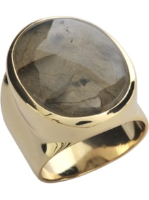 Oval Ring In Gold With Labradorite Stone - predominant colour: gold; occasions: casual, evening, work, occasion, holiday; style: cocktail; size: standard; material: chain/metal; finish: metallic; embellishment: jewels