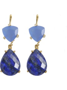 Golden Earrings - predominant colour: royal blue; occasions: evening, occasion; style: drop; length: mid; size: standard; material: chain/metal; fastening: pierced; trends: metallics; finish: plain; embellishment: jewels