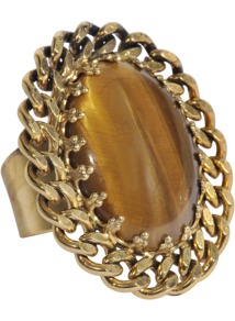 Anya Ring - predominant colour: gold; occasions: casual, evening, occasion, holiday; style: cocktail; size: large/oversized; material: chain/metal; finish: metallic; embellishment: jewels