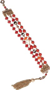 Zazi Bead And Heart Bracelet - occasions: casual, evening, work, holiday; predominant colour: multicoloured; style: friendship bracelet; size: standard; material: chain/metal; trends: fluorescent, metallics; finish: fluorescent; embellishment: beading