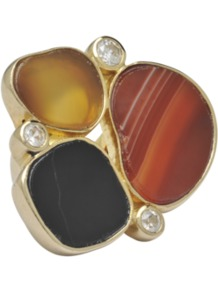 Ring In Gold With Druzy Stones - predominant colour: terracotta; occasions: casual, evening, occasion, holiday; style: cocktail; size: large/oversized; material: chain/metal; finish: plain; embellishment: jewels