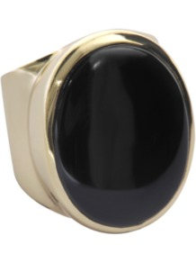 Oval Ring In Gold With Druzy Stone - predominant colour: black; occasions: casual, evening, work, occasion; style: cocktail; size: large/oversized; material: chain/metal; finish: metallic; embellishment: jewels