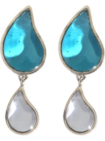 Two Drops Earrings - predominant colour: turquoise; occasions: casual, work; style: drop; length: mid; size: standard; material: chain/metal; fastening: pierced; embellishment: jewels