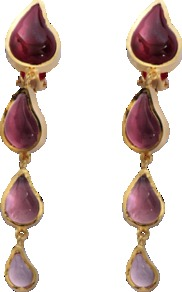 Two Drops Earrings - predominant colour: burgundy; occasions: evening, occasion; style: drop; length: long; size: large/oversized; material: chain/metal; fastening: pierced; finish: plain; embellishment: jewels