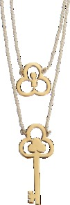 Flower And Key Necklace - predominant colour: gold; occasions: casual, evening, work, occasion; style: multistrand; length: mid; size: standard; material: chain/metal; trends: metallics; finish: plain; embellishment: chain/metal