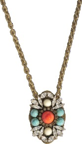 Cabochon Multico Necklace - predominant colour: gold; occasions: casual, evening, work, occasion, holiday; style: pendant; length: long; size: standard; material: chain/metal; embellishment: beading