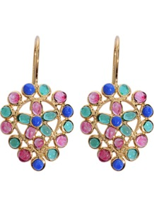 Ja?Pur Earrings - occasions: casual, evening, work, occasion; predominant colour: multicoloured; style: drop; length: mid; size: standard; material: chain/metal; fastening: pierced; finish: plain; embellishment: jewels