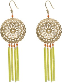 Crise Earrings - predominant colour: gold; occasions: casual, evening, occasion, holiday; style: drop; length: long; size: large/oversized; material: chain/metal; fastening: pierced; trends: fluorescent; finish: fluorescent