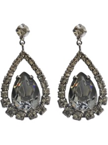 Crystal Drops Earrings - predominant colour: silver; occasions: evening, occasion; style: drop; length: mid; size: standard; material: chain/metal; fastening: pierced; finish: plain; embellishment: crystals