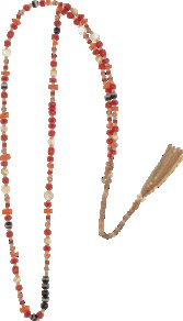 Zazi Necklace - predominant colour: true red; occasions: casual, work, holiday; style: standard; length: long; size: small/fine; material: plastic/rubber; trends: fluorescent; finish: plain; embellishment: beading