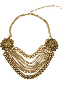 Lion Necklace - predominant colour: gold; occasions: evening, occasion; style: multistrand; length: mid; size: large/oversized; material: chain/metal; trends: metallics; finish: metallic; embellishment: chain/metal