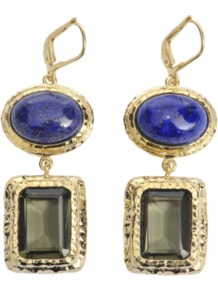 Nymph Earrings - predominant colour: gold; occasions: casual, evening, occasion, holiday; style: drop; length: mid; size: standard; material: chain/metal; fastening: pierced; embellishment: jewels