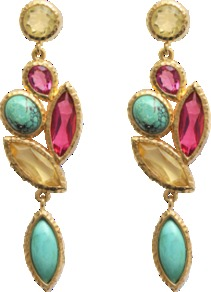Nymph Earrings - predominant colour: gold; occasions: evening, occasion; style: drop; length: mid; size: standard; material: chain/metal; fastening: pierced; embellishment: jewels