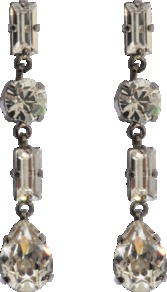 Crystal Earrings - predominant colour: silver; occasions: evening, occasion; style: drop; length: mid; size: standard; material: chain/metal; fastening: pierced; embellishment: crystals
