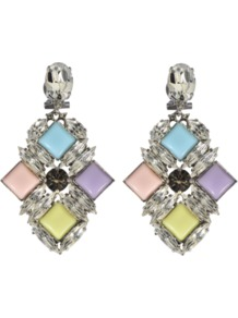 Candy Earrings - predominant colour: silver; occasions: evening, occasion; style: drop; length: mid; size: standard; material: chain/metal; fastening: pierced; embellishment: crystals